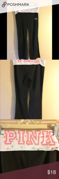 Sparkly PINK fold over yoga pants size large GUC black pants with sparkly fold down waist. Pink dog on front. Smoke free home PINK Victoria's Secret Pants