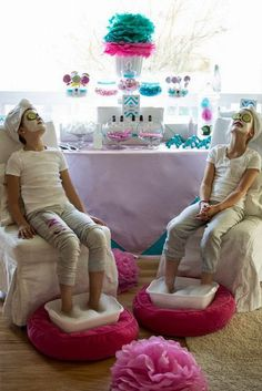 Bash Party Styling *'s Birthday / Spa Party - Photo Gallery at Catch My Party Spa Day Party, Kids Spa Party, Party Set, Spa Birthday Parties, Pamper Party, Slumber Parties, Girl Parties, Bachelorette Parties, Birthday Ideas