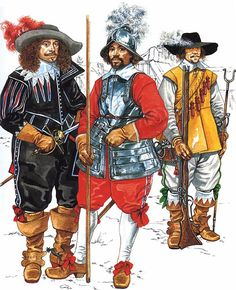 """Costume typical just before the English Civil War""   • Gentleman in everyday dress 1640s • Pikemen 1640s • Musketeer 1640s"
