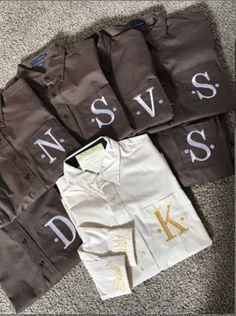 Getting ready oxford button down shirts for all! Bridesmaid Shirts, Bridesmaid Jewelry Sets, Monogram Shirts, Monogram Styles, Personalized Buttons, Bridal Party Shirts, Bride Shirts, Gifts For Photographers, Fitness Gifts