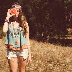 Boho teen with orange friend