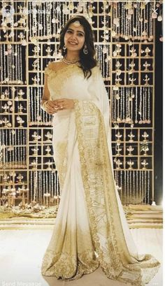 20 Best Images of Indian Beauties in White Saree Engagement Saree, Indian Engagement, Big Fat Indian Wedding, Indian Bridal, Indian Weddings, Dress Indian Style, Indian Outfits, Indian Clothes, Samantha In Saree