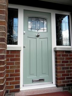 A Chartwell Green Newark with Lantern Glass and Central knob Front Door Porch, Porch Doors, House Front Door, House Entrance, Exterior Doors With Glass, Glass Barn Doors, Exterior Front Doors, Green Front Doors, Front Door Colors