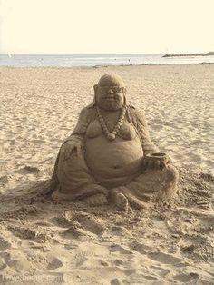 Sand Buddha beach art sea castle sand buddah