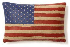 Flag 10x20 Linen/Cotton Pillow, Multi on OneKingsLane.com