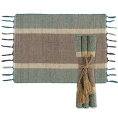 Vetiver Placemats - Teal/Plum Stripes