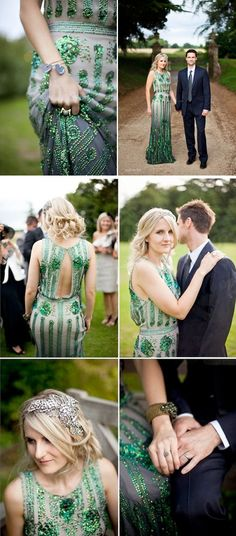 Coloured Wedding Dresses ~ Inspiration For the Bride Who Doesn't Want To Wear White Emerald green, sequin wedding dress. Joy by Jenny Packham Photography by http://caughtthelight.com/philippa-james-costwolds-2/ Wedding Ideas - View our galleries www.oneevent.com.au/galleries. #bridal #engaged #inspiration