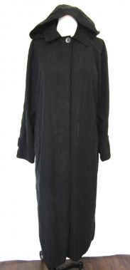London Fog Long Black Coat with Removable Hood Suede-like Material Size 8 $119.99