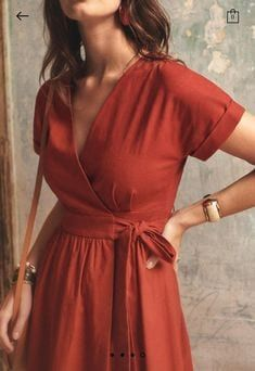 Casual Summer Dresses, Simple Dresses, Pretty Dresses, Short Dresses, Casual Outfits, Dress Summer, Linen Summer Dresses, Wrap Dresses, Linen Dresses