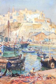 William George Apperley - Port of Tangiers Spanish Art, Pastels, Persian, Oriental, African, Landscape, Eyes, Artist, Photos