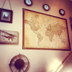 Stairs world travel home decor map