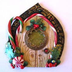 Holiday Elf Door, Pixie Portal , Miniature Fairy Door for the Holidays, Polymer Clay Christmas Wall Decor by Claybykim on Etsy