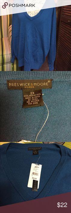 Preswick & Moore Teal v-neck sweater NWT 2X Teal v-neck pullover sweater Size 2X Preswick & Moore Sweaters V-Necks