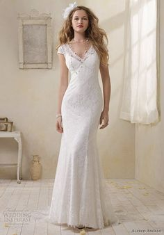 alfred angelo modern vintage bridal lace cap sleeve sheath wedding dress.   I kind of like the sleeves. Vintage lace, I think I like the fit.