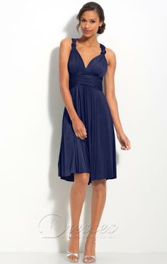 Navy Blue A-Line Deep V-Neck and Strap Cross Back Knee Length Prom Dresses With Twist Draped and Sash