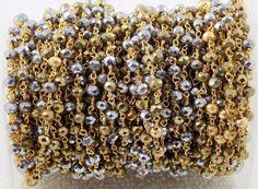 Gold Pyrite & Silver Pyrite Hydro Glass Seed Beads 10 Feet Rosary Beaded Chain  #Raagarw