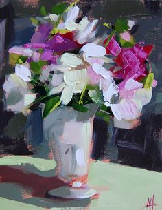 Peonies in White Vase by Angela Moulton