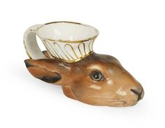 Derby Porcelain Hare Head Stirrup Cup, circa 1820