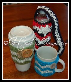 Ravelry: Chasing Chevrons Cozies : Coffee Mug, Coffee Sleeve & Water Bottle pattern by Jennifer Pionk.  5/3/13 ☀ CQ