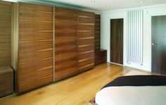 Sliding doors with fine marquetry in Walnut Sliding Wardrobe Doors, Sliding Doors, Fitted Wardrobe Design, Fitted Wardrobes, Marquetry, Storage Solutions, Craftsman, Furniture, Home Decor