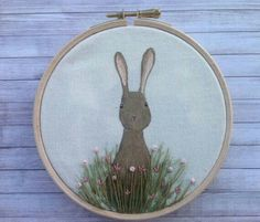 Painted fabric and embroidery by BoxRoomBazaar Wooden Embroidery Hoops, Embroidery Hoop Art, Cross Stitch Embroidery, Bunny Art, Hanging Art, Fabric Painting, Easter Crafts, Small Gifts, Textile Art