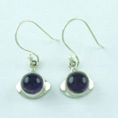 DESIGNER 925 SOLID STERLING SILVER AMETHYST STONE JEWELRY EARRINGS S.3.8 cm  #SilvexImagesIndiaPvtLtd #DropDangle
