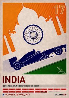 Impresionante colección de carteles con motivo del campeonato de Fórmula uno de 2011 con un toque clásico.