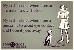 """Haha yep. I always think, """" Wow, I really need to work on my eye contact."""" It's such a specific choice."""