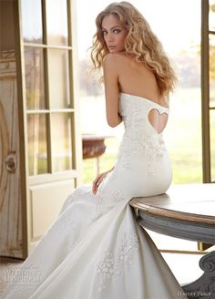 heart back wedding dress