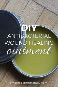 "Healing Remedies Try this DIY antibacterial wound healing ointment next time you or your child gets a cut or scrape. It seems to work far better than that ""Neo-antibiotic."" - Better than that neo-biotic stuff. Natural Health Remedies, Herbal Remedies, Natural Medicine, Herbal Medicine, Diy Cosmetic, Salve Recipes, Beeswax Recipes, Savon Soap, Soaps"