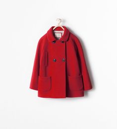 Children's DOUBLE BREASTED SHORT COAT from Zara, red