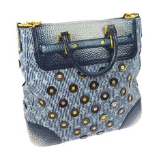 Louis Vuitton Limited Edition Blue Top Handle Satchel Tote Shoulder Bag in Box | From a collection of rare vintage top handle bags at https://www.1stdibs.com/fashion/handbags-purses-bags/top-handle-bags/