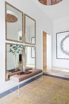 entryway ideas Creating a modern sophisticated entrance in the home design of our Elbow Park Modern project, Calgary Interior Designer, Nyla Free Designs, DeJong Design Associates, Insi Foyer Design, Design Entrée, Design Ideas, Home Entrance Decor, House Entrance, Entryway Decor, Entrance Ideas, Main Entrance, Decor Interior Design