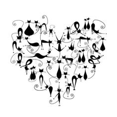 Stock vector of 'I love cats! Black cats silhouette in heart shape for your design'