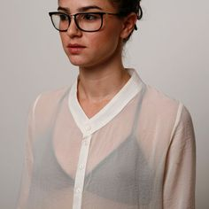 Women white sheer buttons blouse winter shirt by AndyVeEirn, $100.00