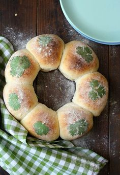 Bake rolls in Bundt pan, egg white brushed over fresh parsley on top of dough. Bake according to recipe. via: **Everything Holiday**
