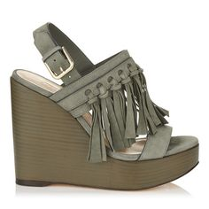 90e12ae9b6d JIMMY CHOO NYA 120 Mink Suede Wedges with Fringing.  jimmychoo  shoes  s