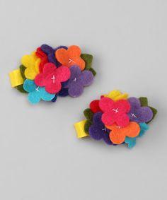 Red & Orange Circus Flower Clip Set by Pink Poseys Bowtique #zulily #zulilyfinds