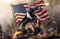 Below, a quick list of all the things we love about this print that we believe are worth mentioning. He's smoking a cigarette. His pants are undone. It looks like he tucks his shirt into his boxers. The lipstick on the collar goes a long way. He's strapped with two automatic guns and a tenor saxophone. Obviously, that's Monica Lewinsky on the left leg. And Ronald McDonald is helping him out. (Why not? Big Bill practically kept the clown in business during his two terms as president.)