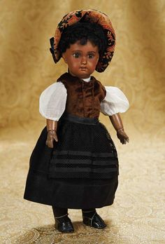 """13"""" (33 cm.) Pretty French Bisque Brown-Complexioned Bebe in Lovely Costume 900/1300"""