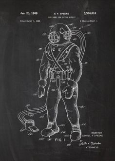 Toy Deep Sea Diver Outfit Patent Print Art Poster Black x Nautical Design, Nautical Theme, Deep Sea Diver, Vector Pop, Halloween Coloring Pages, Poster Prints, Art Prints, Patent Prints, Print Artist