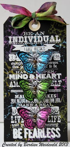 Scrap from Bemmel tags /Tim Holtz / rubber stamps/ quotes / butterfly / scrapbook  Art / mixed media