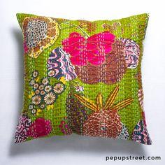 Parrot Green Kantha Pillow Cover #kantha #pepupstreet #indianpillow #throwpillow