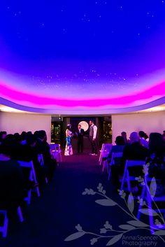 Anna and Spencer Photography. Atlanta Wedding Ceremony & Reception Venue: Fernbank Museum of Natural History, star room.