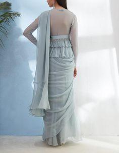 Peplum Blouse with Ruffled Saree And Embellished Belt