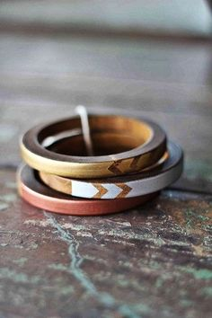 Fun bracelets! Wooden bangles with chevron details