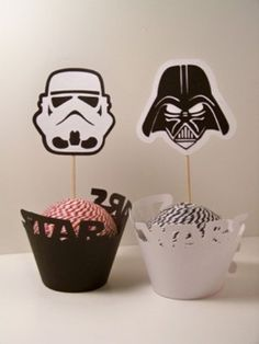 Star Wars Inspired Party Set 6 Cupcake Wrappers and 6 Cupcake Toppers Darth Vader