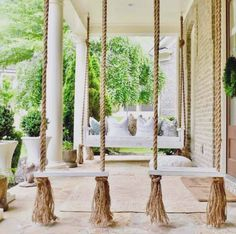 Awesome Farmhouse Porch Swing Decor Ideas What's not to love about a front porch swing? Relaxing, charming, and an invitation to your guests to come sit a spell. Few things add as much curb appeal, and even fewer do it… Continue Reading → Farmhouse Porch Swings, Front Porch Swings, Farmhouse Front Porches, Porch With Swing, Porch Swing Beds, Front Porch Seating, Front Porch Design, Outside Swing, Back Porches