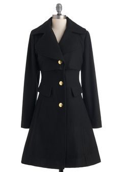 Warm Welcome Coat - Black, Solid, Buttons, Pockets, Long Sleeve, Winter, Fit & Flare, Long, 3, Party, Work, Casual
