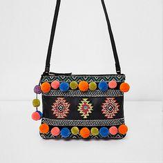 L2017 Black leather embellished cross body bag